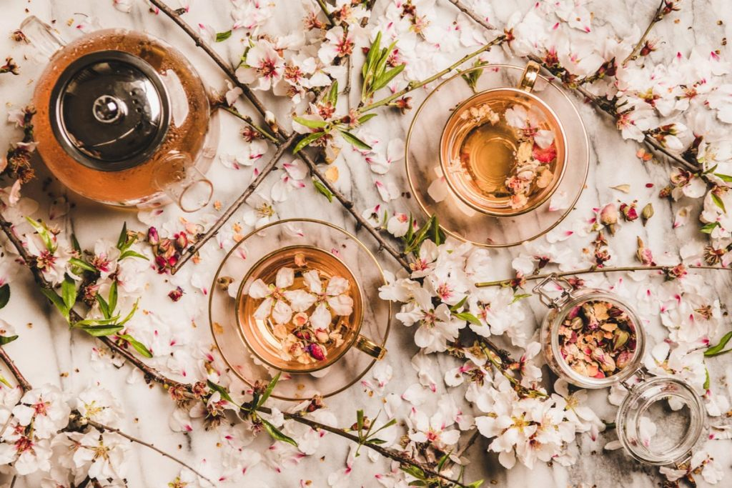 two teacups and teapot surrounded with flowering almond twigs