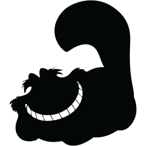 Silhouette of a smiling Cheshire Cat