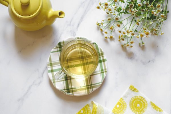 a cup of herbal chamomile tea