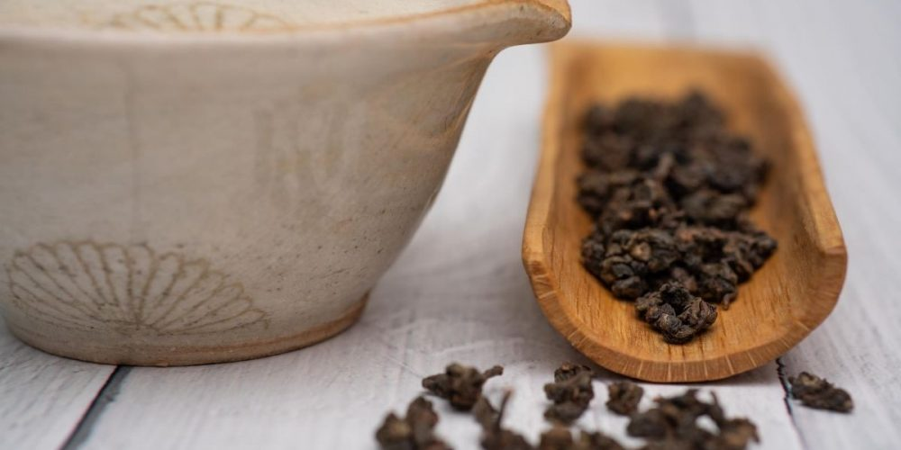 Loose leaf Formosa oolong the on the table