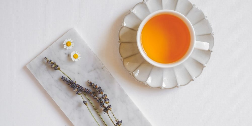 Cup of tea, lavender flowers