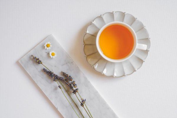 a cup of herbal lavender tea