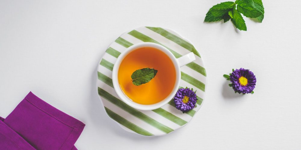 Cup of tea, mint leaves