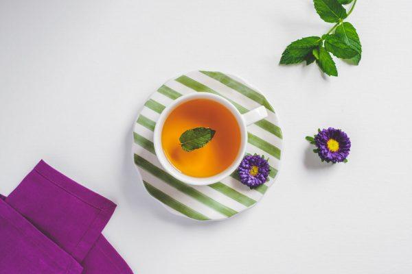 a cup of mint tea and medicinal herbs