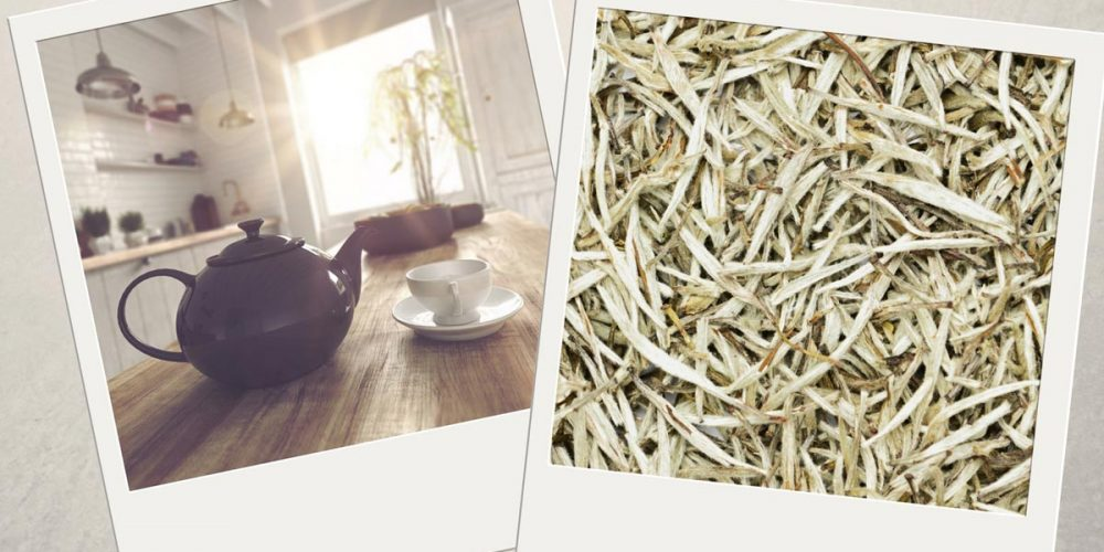 Pictures of white loose leaf tea and of a teapot