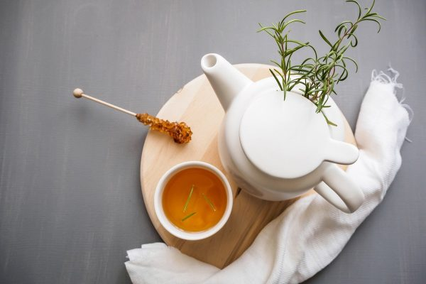 tea cup and pot with additives