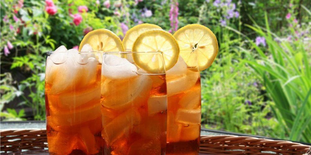 Tall glasses of homemade iced tea in the garden