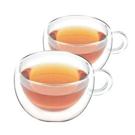 Shimmer Borosilicate Glass Double Walled Teacups